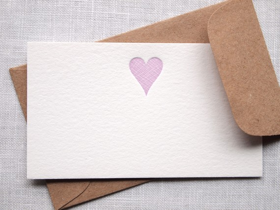 Letterpress Heart Mini Note Cards