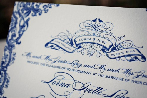 Blue Letterpress Puerto Rico Wedding Invitations Detail 500x335 Lorna + Joses Puerto Rico Destination Wedding Invitations