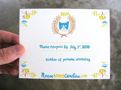 Blue Orange Yellow Hand Illustrated Wedding Invitations RSVP 500x375 Caroline + Reeses Screen Printed Wedding Invitations