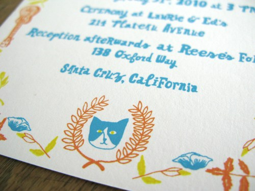 Blue Orange Yellow Hand Illustrated Wedding Invitations4 500x375 Caroline + Reeses Screen Printed Wedding Invitations