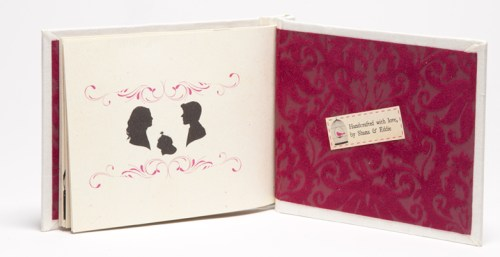 Creative Book Custom Wedding Invitations Silhouettes 500x257 Shana + Edward's Hardcover Book Wedding Invitations