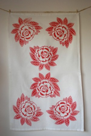 Hand printed linoleum cut tea towels 300x447 Hand Block Printed Note Cards