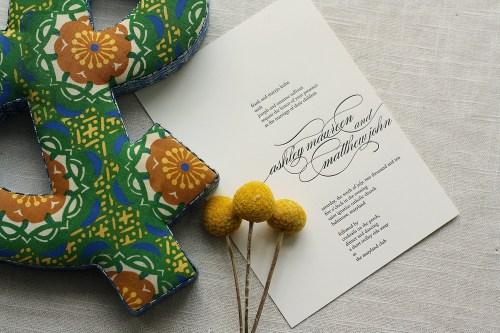 Modern Apple Green Letterpress Wedding Invitations Black Text 500x333 Ashley + Matts Elegant Apple Green and Black Wedding Invitations
