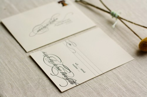 Modern Apple Green Letterpress Wedding Invitations RSVP 500x333 Ashley + Matts Elegant Apple Green and Black Wedding Invitations