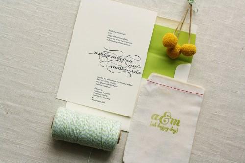 Modern Apple Green Letterpress Wedding Invitations2 500x333 Ashley + Matts Elegant Apple Green and Black Wedding Invitations