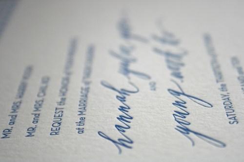 Modern Blue Pattern Letterpress Wedding Invitation Calligraphy2 500x333 Hannah + Youngs Modern Destination Wedding Invitations