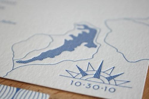 Modern Blue Pattern Letterpress Wedding Invitation Map Detail 500x333 Hannah + Youngs Modern Destination Wedding Invitations