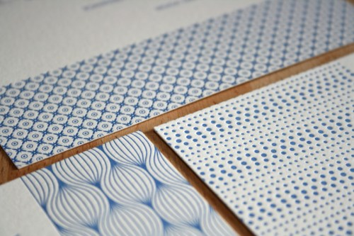 Modern Blue Pattern Letterpress Wedding Invitation Texture 500x333 Hannah + Youngs Modern Destination Wedding Invitations