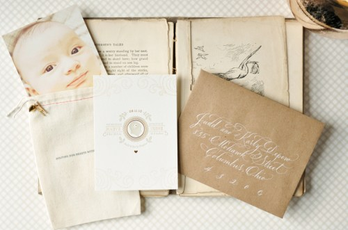 Organic Gray Gold Baby Announcements 500x331 Organic Gray + Gold Announcements for Baby Maeve