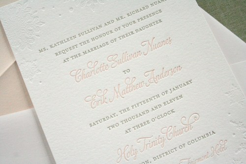 Pink Gray Letterpress Winter Snowflake Wedding Invitation 500x333 Charlotte + Eriks Winter Snowflake Wedding Invitations