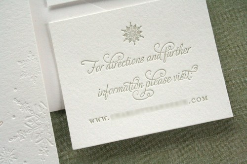 Pink Gray Letterpress Winter Snowflake Wedding Invitations Website Info 500x333 Charlotte + Eriks Winter Snowflake Wedding Invitations