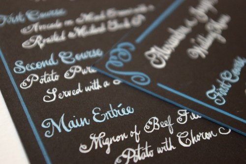 Swirly Romantic Calligraphy Brown Blue Wedding Menu 500x333 Whimsical Calligraphy from Barbara Kua