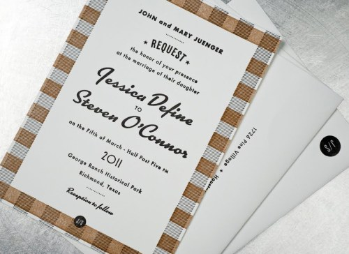 Black White Gold Retro Wedding Invitations2 500x364 Jessica + Stevens Retro Black and White Wedding Invitations