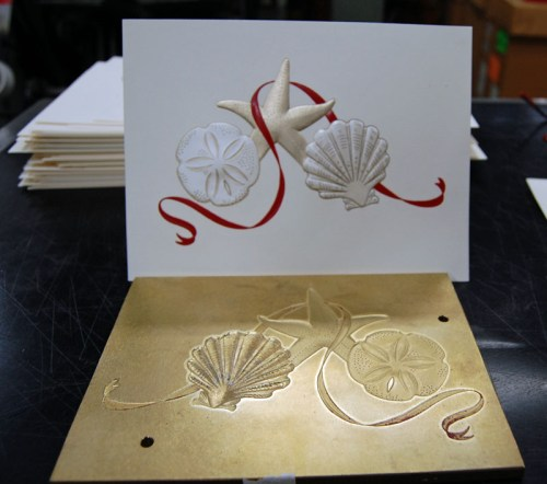 Crane Stationery Foil Stamping Blind Embossing Die Cut 500x442 The Printing Process: Foil Stamping
