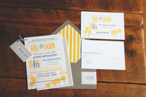 Full suite 500x332 Gail + Jason's Modern Yellow + Gray Wedding Invitations