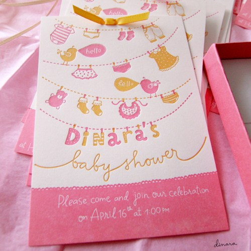 Hand Lettered Pink Letterpress Baby Shower Invitations31 500x500 Dinaras Pink + Yellow Hand Lettered Baby Shower Invitations