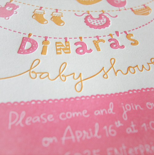 Hand Lettered Pink Letterpress Baby Shower Invitations4 500x501 Dinaras Pink + Yellow Hand Lettered Baby Shower Invitations