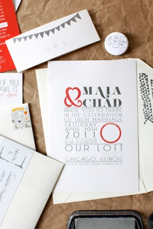 Red Silver DIY Wedding Invitations Front 300x449 Maia + Chads Red and Silver Wedding Invitations