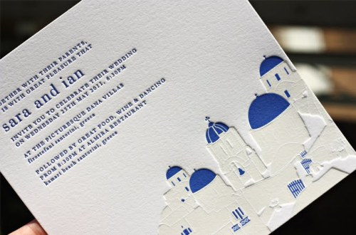 blue white greek islands wedding invitations santorini 500x330 Sara + Ian's Greek Isles Wedding Invitations