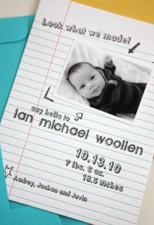 letterpress baby boy birth announcements notebook paper urbanic 300x439 Adorable Birth Announcement Ideas