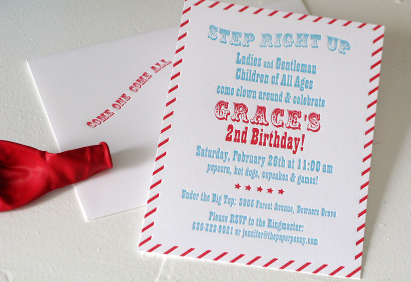 Red + Aqua Carnival Birthday Party Invitations for Grace - free birthday cards templates