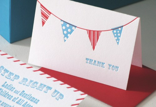 red white blue birthday party invitation bunting 500x343 Red + Aqua Carnival Birthday Party Invitations for Grace!