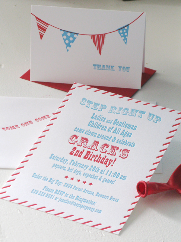 Red + Aqua Carnival Birthday Party Invitations for Grace!