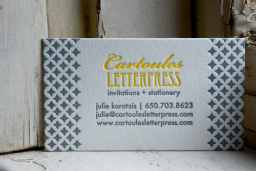 yellow gray letterpress business cards 500x334 Business Card Ideas and Inspiration #5