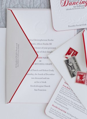 Classic Elegant Red White Gray Letterpress Wedding Invitation 300x409 Kathryn + Ryans Timeless Winter Wedding Invitations