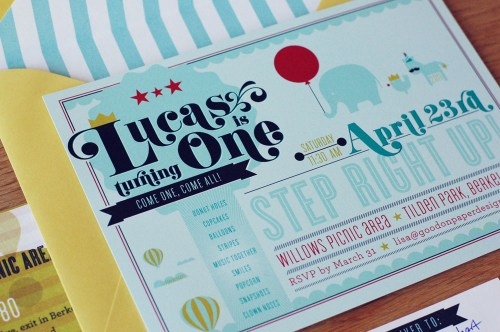 Circus Boy Birthday Party Invitation 500x332 First Birthday Party Invitations for Baby Lucas!