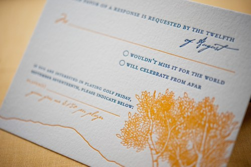 Colorado Rocky Mountains Blue Yellow Wedding Invitations RSVP 500x332 Rebecca + Nicks Rocky Mountain Colorado Wedding Invitations