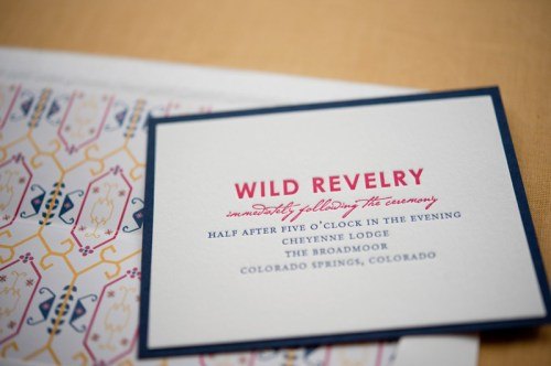 Colorado Rocky Mountains Blue Yellow Wedding Invitations Reception Card 500x332 Rebecca + Nicks Rocky Mountain Colorado Wedding Invitations