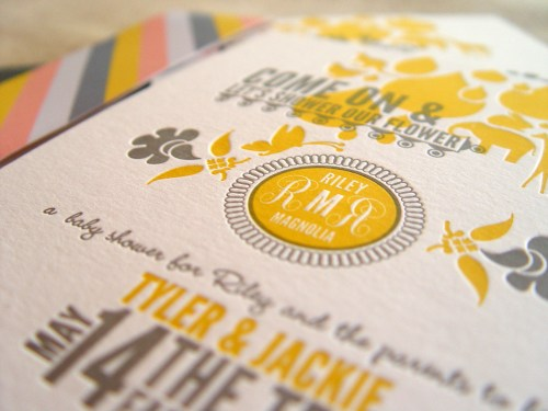 Gray Gold Baby Shower Invitations 42Pressed Monogram 500x375 Jackie + Tylers Gray and Gold Baby Shower Invitations