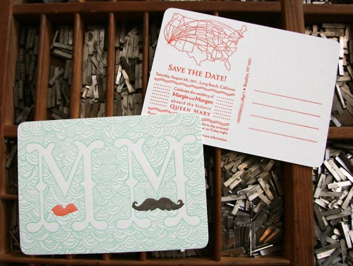 Queen Mary Mustache Letterpress Save the Dates 500x377 Margie + Morgens Queen Mary Inspired Save the Dates