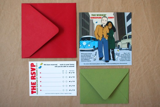 Bob Dylan Inspired Wedding Invitation 550x366 Colorful Illustrated Custom Invitations from Stinkerpants
