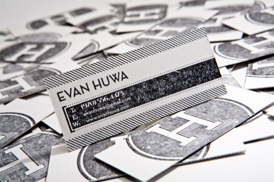 Evan Huwa Black White letterpress business card 550x366 Business Card Ideas and Inspiration #9