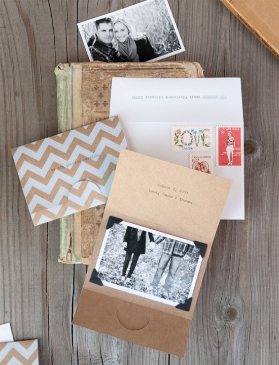 Kraft Paper Chevron Stripe Save the Dates 550x718 Lauras Modern Chevron Stripe + Kraft Save the Dates