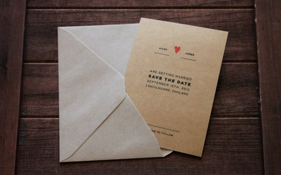 Kraft Paper Gocco Save the Date3 550x343 Sweet + Simple Save the Dates
