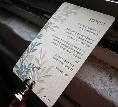 Letterpress Wedding Menu Wedding Details: Creative Menu Ideas
