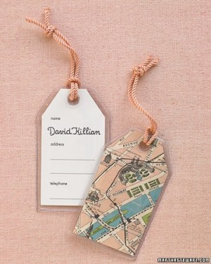 Map luggage tag escort cards 300x375 Wedding Details: Escort Cards and Place Cards, Part 2