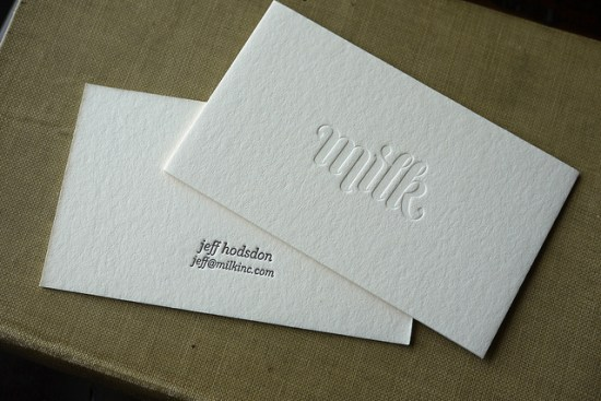 Milk Blind Impression Business Card 550x367 Business Card Ideas and Inspiration #9