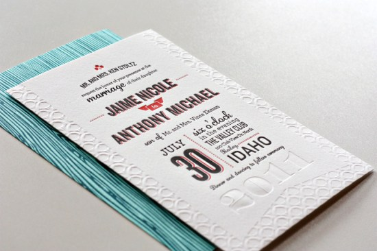 Modern Aspen Forest Letterpress Wedding Invitation2 550x366 Jaime + Anthonys Modern Woodgrain Wedding Invitations