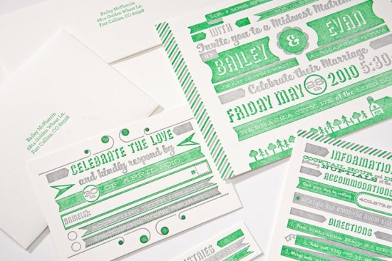 Modern Green Gray Letterpress Wedding Invitation2 550x366 Modern Green + Gray Letterpress Wedding Invitations