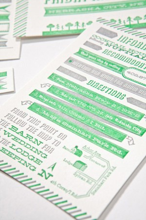 Modern Green Gray Letterpress Wedding Invitation3 300x450 Modern Green + Gray Letterpress Wedding Invitations