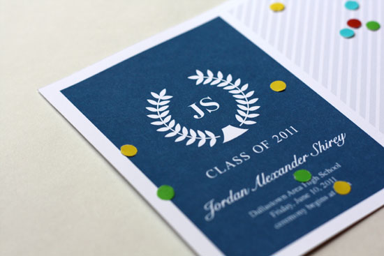 Modern Navy Graduation Announcements Modern Navy + White Graduation Announcements