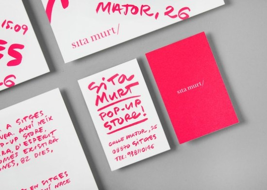 Neon pink business cards 550x392 Business Card Ideas and Inspiration #8