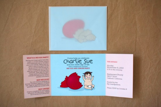 Red Egg Party Invitation4 550x366 Colorful Illustrated Custom Invitations from Stinkerpants