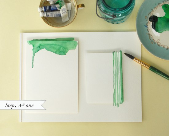 Step1 550x442 DIY Tutorial: Hand Watercolored Save the Dates + Thank You Cards