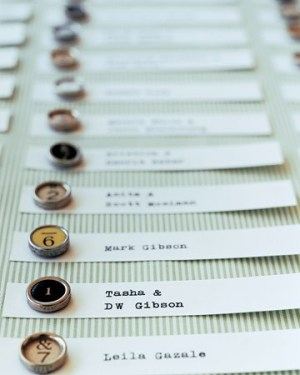 Typewriter Keys Escort Cards 300x375 Wedding Details: Escort Cards and Place Cards