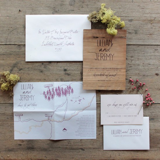 Earthy Wood Handwriting Wedding Invitation Akimbo Suite 550x550 Earthy Wood and Floral Wedding Invitation from Akimbo